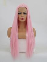 economico -Parrucche Lace Front Sintetiche Liscio Parte di mezzo Capelli sintetici Resistente al calore Rosa Parrucca Per donna Lungo Lace frontale / Sì