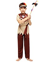 cheap -Primitive Outfits Boys' Halloween / Carnival / Children's Day Festival / Holiday Halloween Costumes Brown Solid Colored / Halloween Halloween