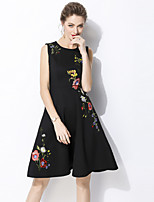 cheap -SHIHUATANG Women's Vintage / Street chic A Line Dress - Floral Embroidered