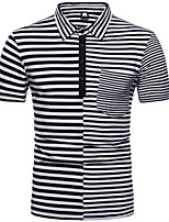 cheap -Men's Polo - Striped Shirt Collar / Short Sleeve