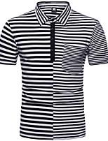 Недорогие -Муж. Polo Рубашечный воротник Полоски / С короткими рукавами