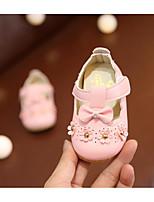 Недорогие -Девочки Обувь Полиуретан Лето Обувь для малышей На плокой подошве Стразы / Цветы / На липучках для Дети Бежевый / Розовый