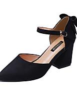 Недорогие -Жен. Обувь Замша / Полиуретан Лето Туфли д'Орсе Обувь на каблуках На толстом каблуке Черный / Бежевый