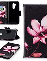 Недорогие -Кейс для Назначение LG G7 Кошелек / Бумажник для карт / со стендом Чехол Цветы Твердый Кожа PU для LG G7