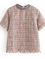 Недорогие -женская футболка - клетчатая шея