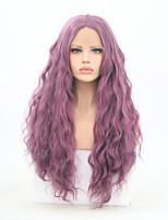 Недорогие -Синтетические кружевные передние парики Кудрявый Средняя часть Искусственные волосы Регулируется / Жаропрочная Фиолетовый Парик Жен. Длинные Лента спереди Фиолетовый / Да