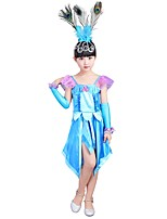 cheap -Princess Costume Girls' Halloween / Carnival / Children's Day Festival / Holiday Halloween Costumes Cyan Solid Colored / Halloween Halloween