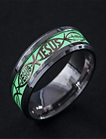 cheap -Men's Luminous Stone Classic Band Ring - Stainless Steel Unique Design, Tattoo Style, Gypsy 6 / 7 / 8 Silver For Masquerade / Bar
