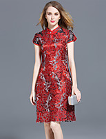 cheap -SHIHUATANG Women's Sophisticated Sheath Dress - Floral Embroidered