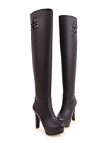 cheap -Women's Shoes Patent Leather Fall & Winter Fashion Boots Boots Stiletto Heel Round Toe Knee High Boots White / Black / Brown / Party & Evening