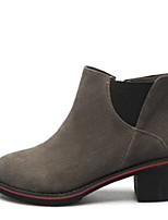 baratos -Mulheres Sapatos Camurça Outono & inverno Conforto / Botas da Moda Botas Salto Robusto Dedo Fechado Botas Cano Médio Preto / Cinzento