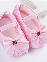 Недорогие -Девочки Обувь Сатин Весна лето Обувь для малышей На плокой подошве Бант для Дети (1-4 лет) Лиловый / Красный / Розовый