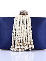 cheap -Women's Bags Polyester Evening Bag Crystals / Pearls / Tassel Blue / Red / Blushing Pink
