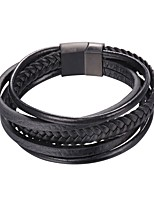 cheap -Men's Layered Loom Bracelet - Stainless Steel Vintage, Fashion Bracelet Black / Brown For Gift / Daily