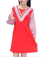 cheap -Kids Girls' Solid Colored / Striped Long Sleeve Dress