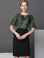 cheap -SHIHUATANG Women's Sophisticated Sheath Dress - Color Block Embroidered