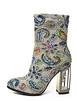 cheap -Women's Shoes Synthetics Fall & Winter Comfort / Fashion Boots Boots Chunky Heel Mid-Calf Boots Fuchsia / Light Green