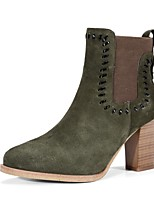 cheap -Women's Shoes Suede Fall & Winter Comfort Boots Chunky Heel Black / Green / Khaki