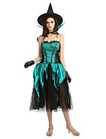 cheap -Witch Costume Women's Halloween / Carnival / Children's Day Festival / Holiday Halloween Costumes Dark Green Solid Colored / Halloween Halloween