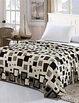 baratos -Velocino de Coral, Estampa Pigmentada Preto e Branco Algodão / Poliéster cobertores