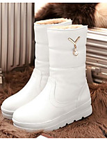 cheap -Women's Shoes PU(Polyurethane) Winter Comfort / Snow Boots Boots Low Heel Mid-Calf Boots White / Black / Beige