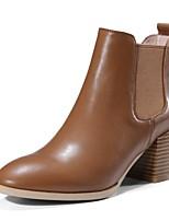 preiswerte -Damen Schuhe Nappaleder Herbst Winter Komfort Stiefel Blockabsatz Schwarz / Hellbraun / Dunkelgrün