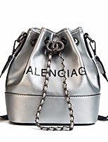 cheap -Women's Bags PU(Polyurethane) Shoulder Bag Buttons White / Black / Silver