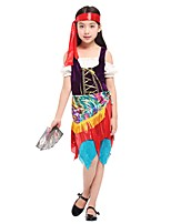 cheap -Cosplay Costume Girls' Halloween Carnival Children's Day Festival / Holiday Halloween Costumes Outfits Rainbow Solid Colored Halloween Halloween