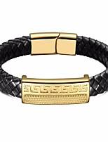 cheap -Men's Stylish / Braided Loom Bracelet - Leather, Stainless Creative Stylish, Unique Design, European Bracelet Gold For Gift / Street