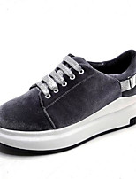 cheap -Women's Shoes Suede Spring / Fall Comfort Sneakers Flat Heel Round Toe Black / Gray