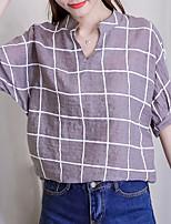 economico -Camicia Per donna A quadri Colletto alla coreana - Cotone