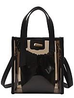 cheap -Women's Bags PVC(PolyVinyl Chloride) Tote Zipper Black / Blushing Pink