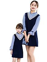 abordables -Mami y yo Básico A Rayas Manga Larga Vestido