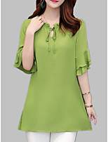 cheap -Women's Loose Blouse - Solid Colored Ruffle