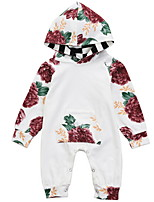 cheap -Baby Girls' Basic Floral Long Sleeve Cotton Romper / Toddler
