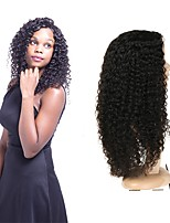 cheap -Human Hair Full Lace Wig Peruvian Hair Curly Wig Asymmetrical Haircut 130% / 150% / 180% Odor Free / Designers / Woven Black Women's Mid Length Human Hair Lace Wig / Fashion
