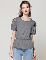 cheap -women's t-shirt - houndstooth round neck