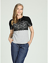 cheap -Women's Active / Basic T-shirt - Color Block Black & Gray, Lace