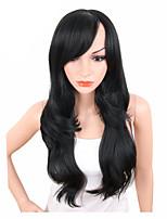 abordables -Pelucas sintéticas Ondulado Parte lateral Pelo sintético Ajustable / Resistente al Calor / sintético Negro Peluca Mujer Larga Sin Tapa / Sí