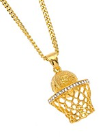 cheap -Men's Cubic Zirconia Hollow Out / Cuban Link Pendant Necklace / Chain Necklace - Stainless Mini, Precious Unique Design, European, Hip-Hop Cool Gold, Silver 60 cm Necklace Jewelry 1pc For Gift, Street
