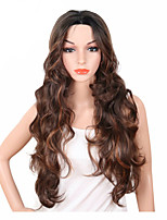 economico -Parrucche sintetiche Ondulato Parte di mezzo Capelli sintetici Regolabili / Resistente al calore / sintetico Marrone Parrucca Per donna Lungo Senza tappo