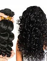 Недорогие -3 Связки Малазийские волосы Волнистый Натуральные волосы Человека ткет Волосы / One Pack Solution / Накладки из натуральных волос 8-28 дюймовый Ткет человеческих волос