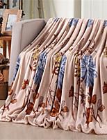 baratos -Velocino de Coral, Estampa Pigmentada Floral Algodão / Poliéster cobertores