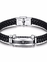 cheap -Men's Braided Leather Bracelet / Loom Bracelet - Titanium Steel Cross Stylish, Artistic, European Bracelet Black For Daily / Holiday