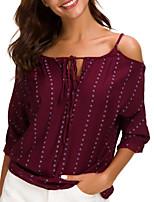 cheap -Women's Basic Blouse - Striped Print