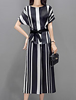 cheap -Women's Street chic / Sophisticated Set - Striped, Bow Pant