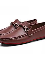 baratos -Homens sapatos Pele Outono Conforto Mocassins e Slip-Ons Preto / Marron / Azul