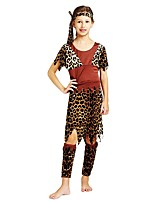 cheap -Primitive Outfits Girls' Halloween / Carnival / Children's Day Festival / Holiday Halloween Costumes Brown Solid Colored / Halloween Halloween