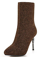 cheap -Women's Shoes PU(Polyurethane) Fall & Winter Fashion Boots Boots Stiletto Heel Pointed Toe Mid-Calf Boots Sequin Gray / Coffee / Wine / Party & Evening