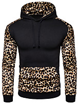 cheap -Men's Basic / Street chic Hoodie - Leopard / Color Block, Print